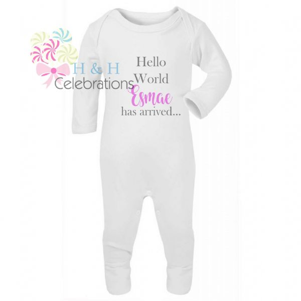 Hello World Personalised Baby Romper